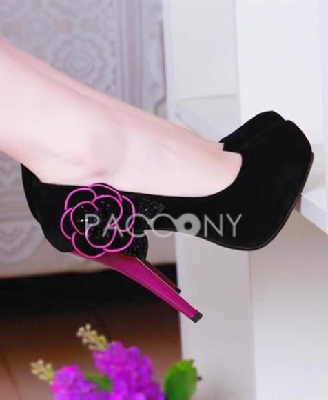 high heels shoes black black  high heels cute platform high heels black heels suede nubuck purple flower flower heels floral floral high heels glitter glitter shoes glitter heels simple