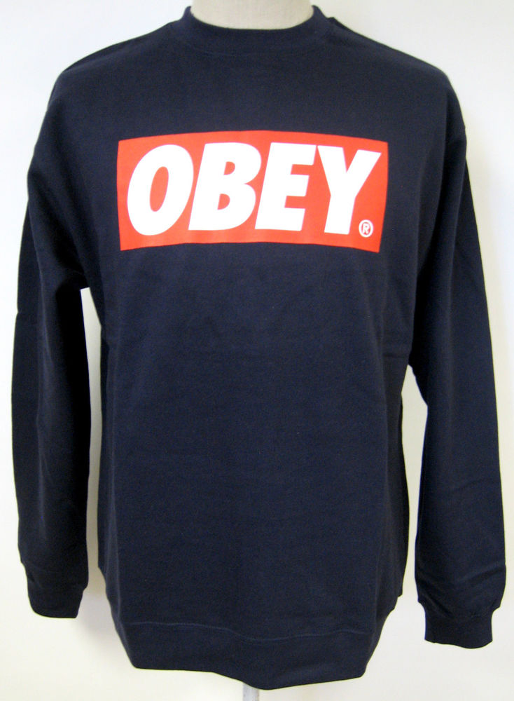 Obey men's crew sweatshirt the box dark denim xl nwt
