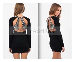 Nasty GAL Fashion Dress Sequin Bead Black Dress Sexy Dress Size S | eBay