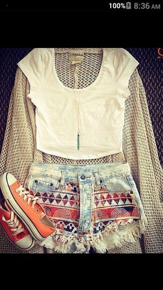 shorts short shorts tribal pattern cardigan girly