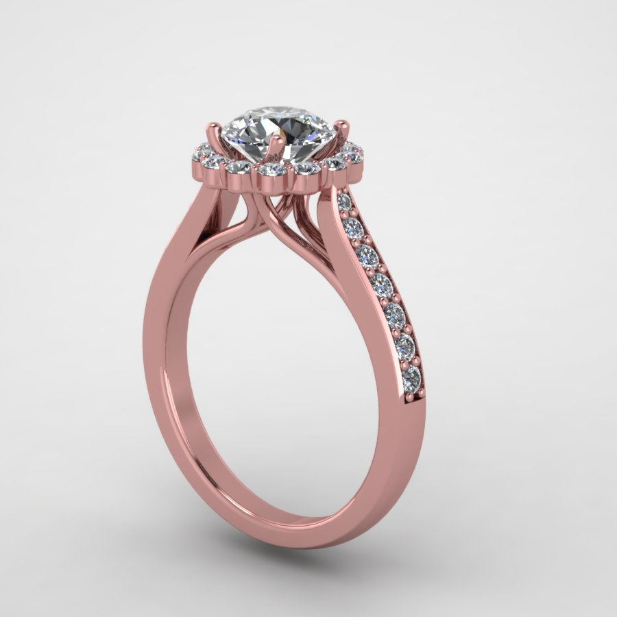 Fine jewelry,hand made rose gold diamond engagement ring with moissanite center. style 139rgdm
