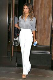 pants,shirt,jessica alba,sandals,wedges,bag,shoes