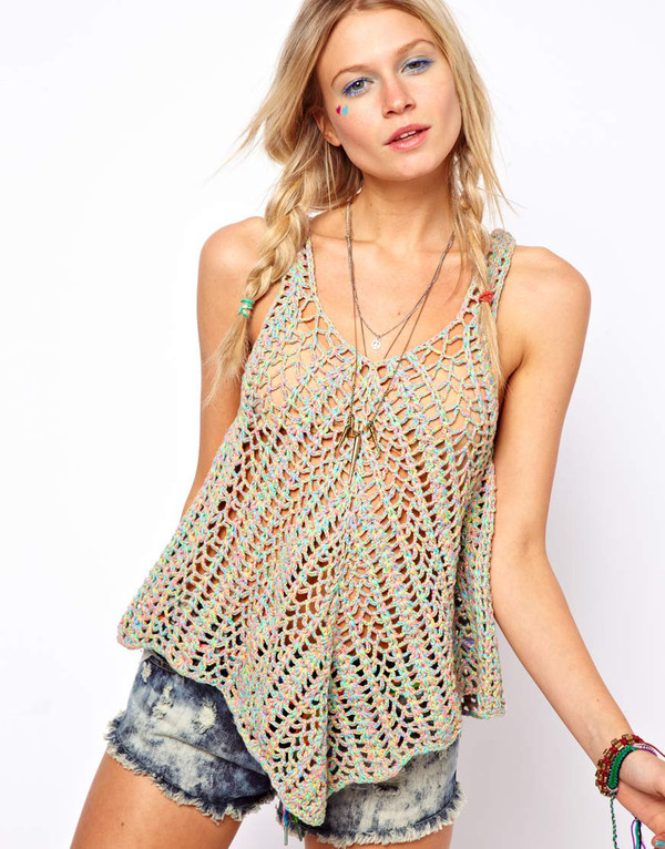tank top knitted top lace top knitted sweater lace