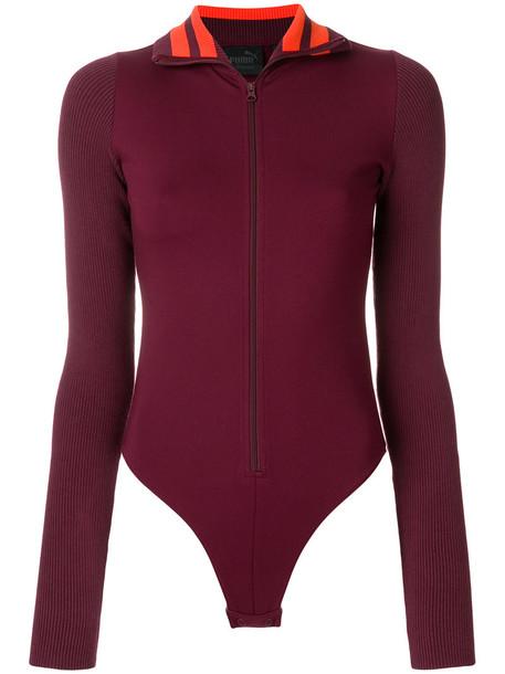 Fenty x Puma bodysuit zip women spandex cotton red underwear