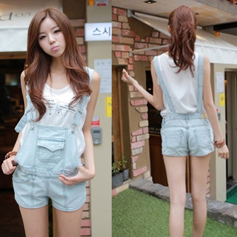 Summer women's loose vintage denim jumpsuit bib pants detachable ...