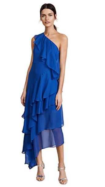 alice + olivia gown ruffle blue dress