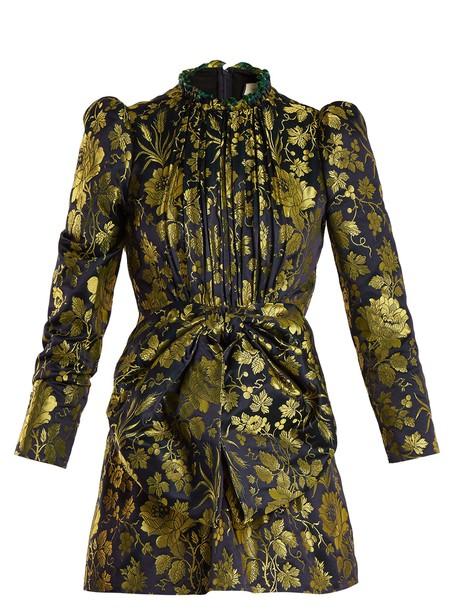 gucci dress romantic high jacquard gold