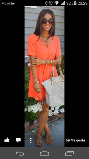 dress orange dress summer dress shoes