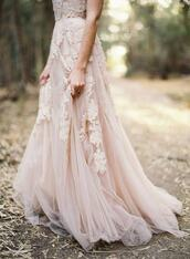 dress,prom dress,hipster wedding,haute couture,long prom dress,graduation dress,light pink dress,light pink,floral,lace,strapless dress,lace dress,tulle skirt,formal dress,rose,flowers,maxi dress,long dress,wood,floral dress,wedding,nude,nude dress,tulle dress