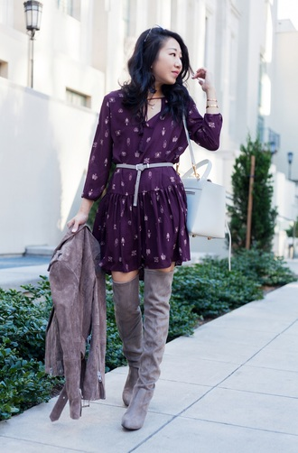 posh classy mom – a lifestyle blog by sheree blogger dress jacket shoes bag purple dress boots over the knee boots grey boots suede boots