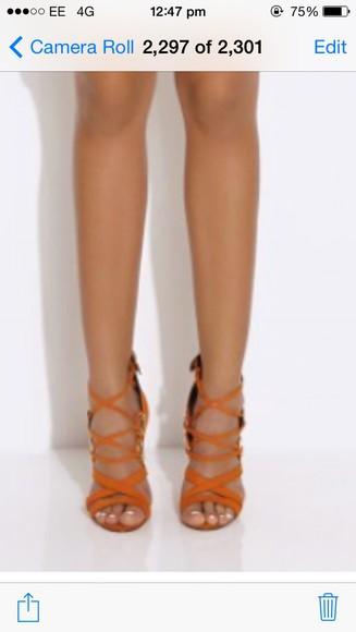 orange shoes high heels orange heels strappy sandals strappy heels
