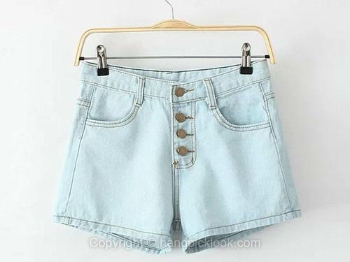Blue Pockets Button Fly Denim Shorts - HandpickLook.com