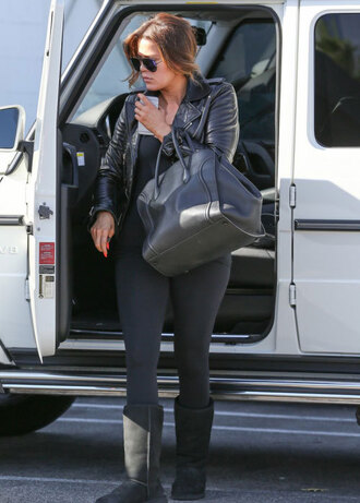 jacket khloe kardashian leggings top ugg boots bag sunglasses