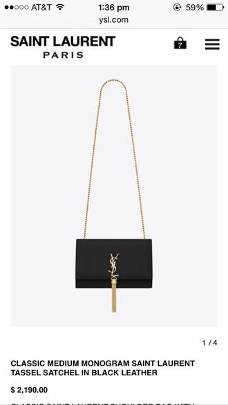bag black clutch yves saint laurent golf chain