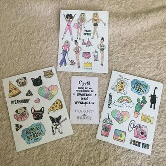 home accessory yeah bunny super stickers stickers queen pizza dog frenchie kiss