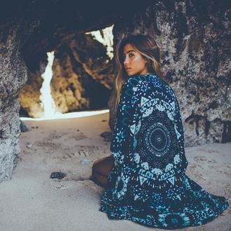 blue boho chic tapestry mandala bohemian indie summer beach spring break cardigan