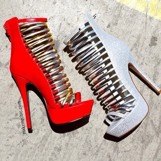 shoes red silver sparkly heels