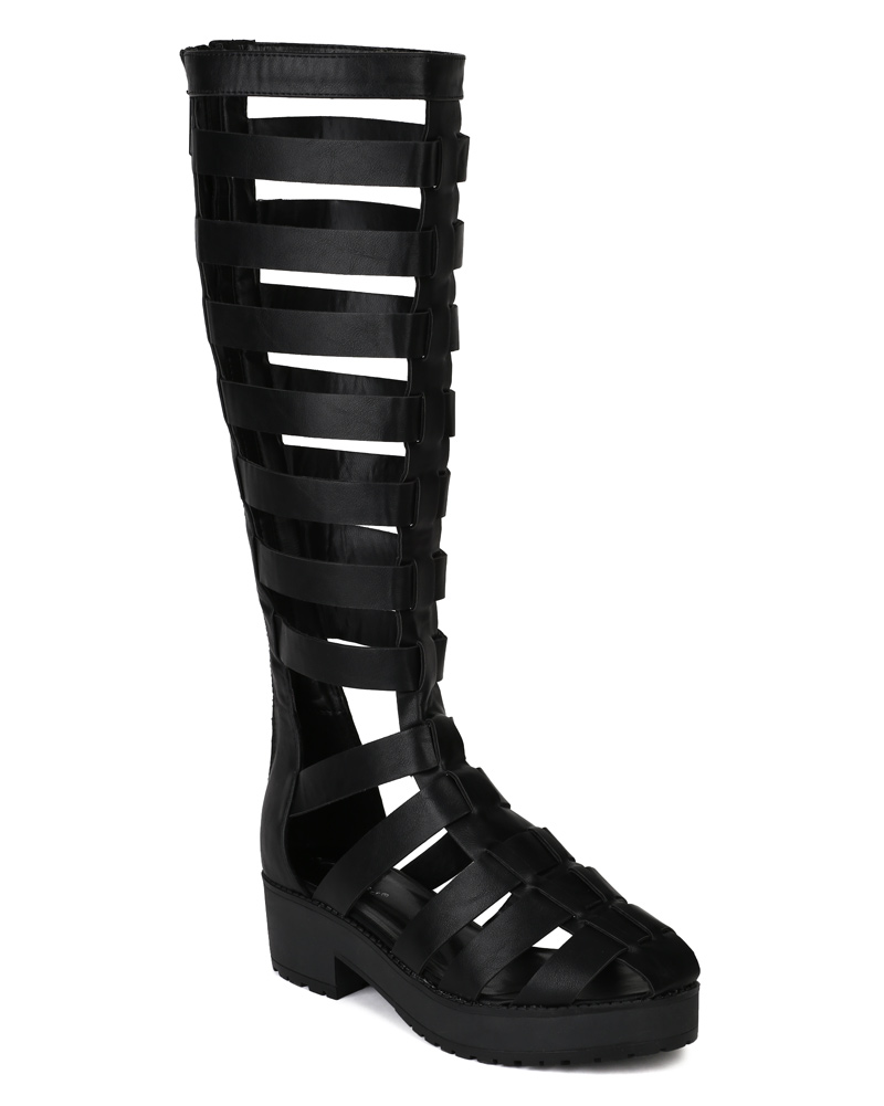 Teela 02 New Women PU Strappy Gladiator Knee High Platform Sandal ...