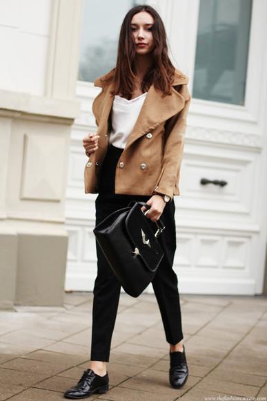 oxfords blogger jacket jewels bag the fashion cuisine top camel