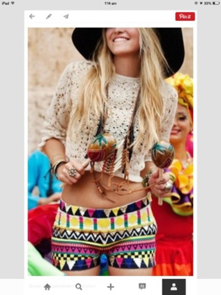 shorts blouse colourful crochet crop top lace tribal pattern