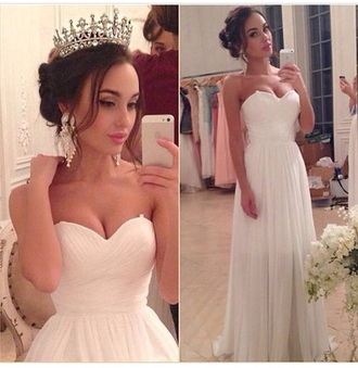 dress prom dress prom shoes wedding dress wedding clothes beautiful white dress white ivory dress dance wear champagne dress prom promdress  dress long prom dress long dress simple dress simple wedding dresses excited hair accessory