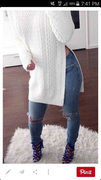 sweater winter sweater white pinterest dope winter swag jeans shoes