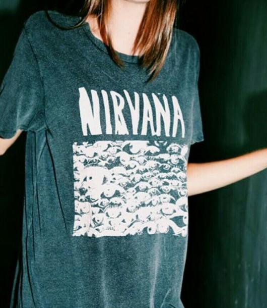 skirt nirvana t-shirt shirt nirvana top t-shirt grunge band t-shirt blue blue shirt