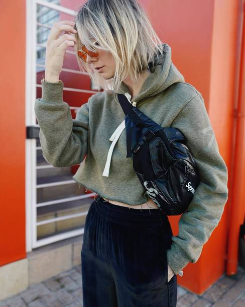 top tumblr cropped hoodie hoodie green top cropped crop tops bag belt bag fanny pack sunglasses