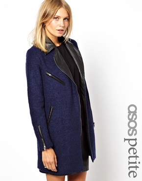 ASOS Petite | ASOS PETITE Exclusive Texture Wool Biker Coat with Leather Look Collar at ASOS