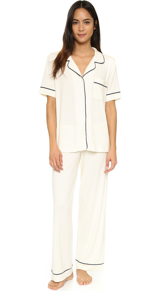 Eberjey Gisele Short Sleeve PJ Set in navy / ivory