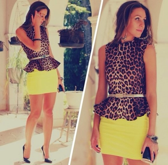 skirt blouse neon skirt cheetah blouse gold belt dress