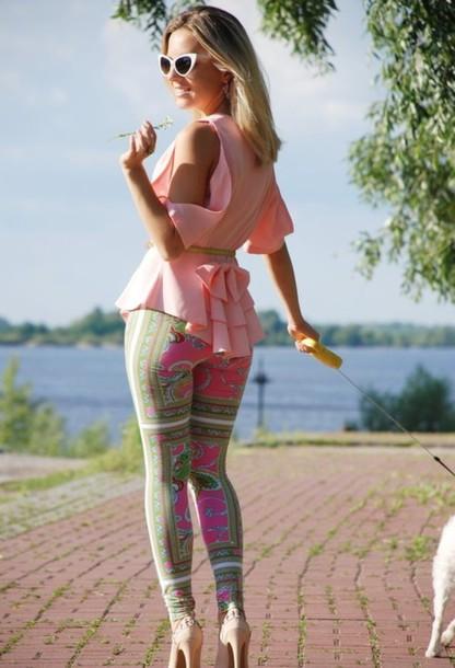 pants leggings clothes print legging pink and green legging pink green