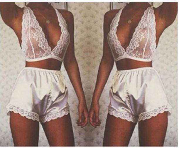 27483f48fac31 underwear white shorts silk satin lace bra bralette lace bralette lingerie  lingerie set nightwear sexy see.