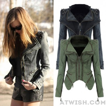 Punk rivet zipper denim dovetail coats from women tops