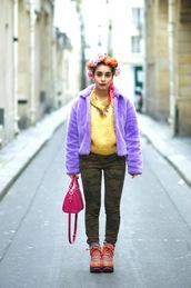 let's get flashy,blogger,flower crown,camo pants,fluffy,purple,colorful,coat,jeans,shoes,sweater,bag,jewels,make-up