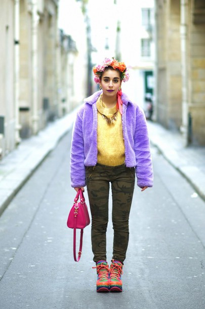 let's get flashy blogger flower crown camo pants fluffy purple colorful coat jeans shoes sweater bag jewels make-up