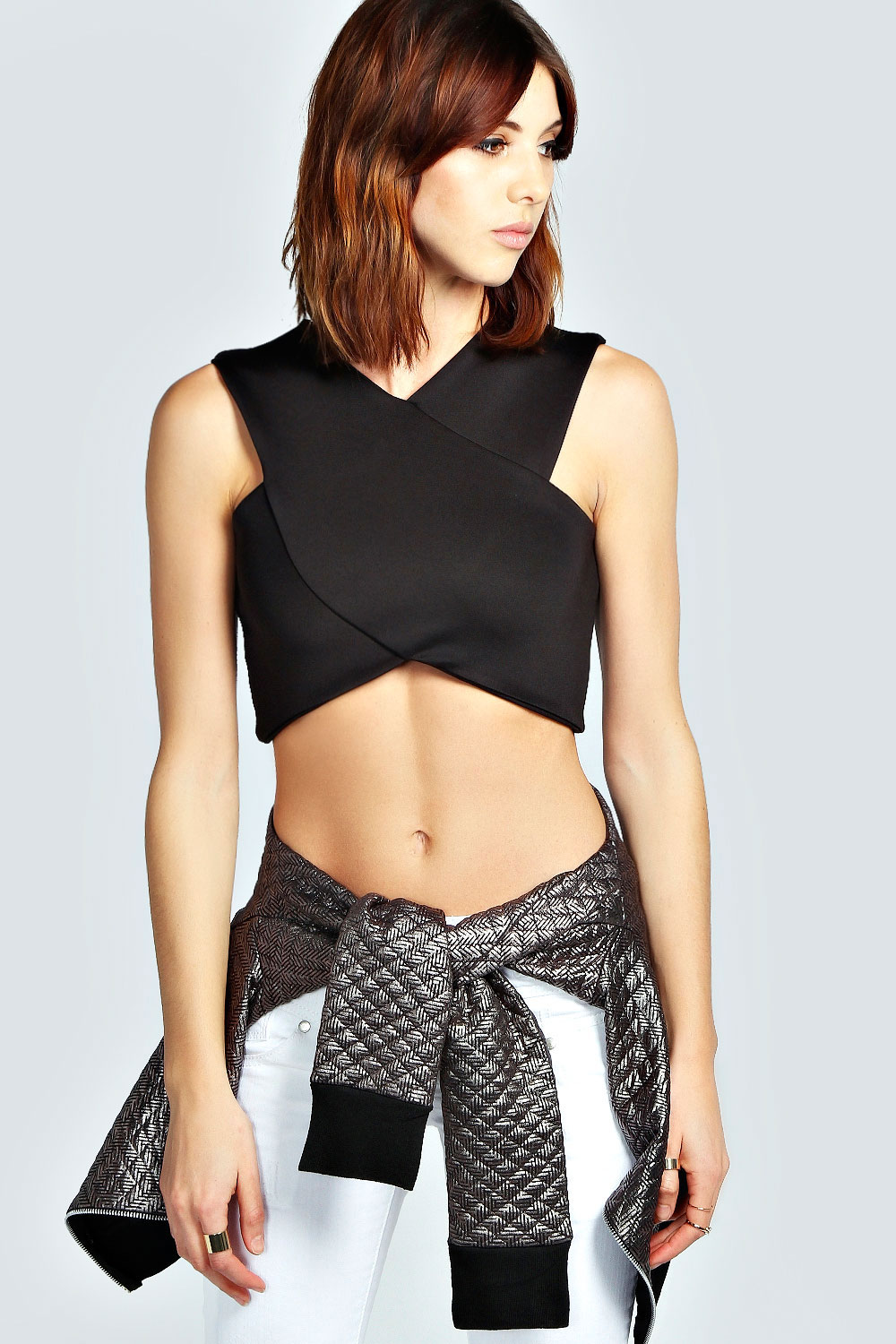 Lily V Neck Racer Crop Top