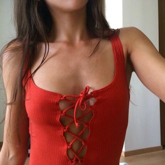 top red orange lace up cross lace tank top lace top t-shirt