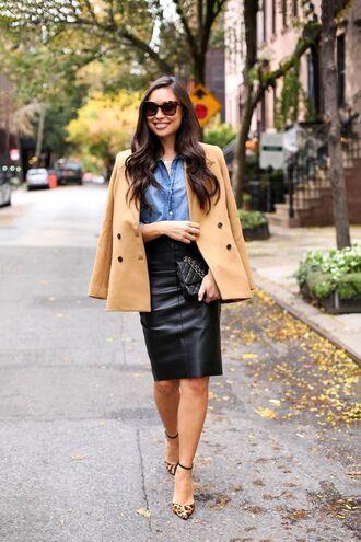 skirt denim shirt brown button coat leather pencil skirt strappy stilettos sunglasses blogger