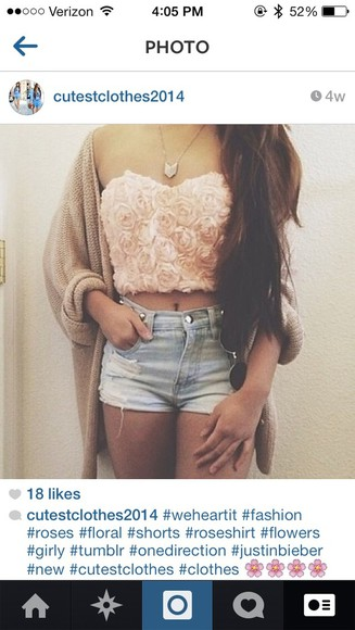 shorts rose shirt bandeau crop tops rose bandeau