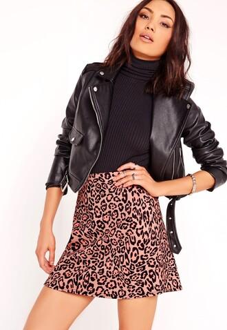 skirt animal print leopard print pink skirt