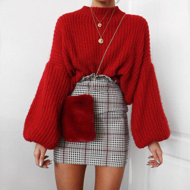 shorts tumblr mini skirt plaid plaid skirt grey skirt sweater red sweater knit knitwear knitted sweater bag red bag necklace gold necklace