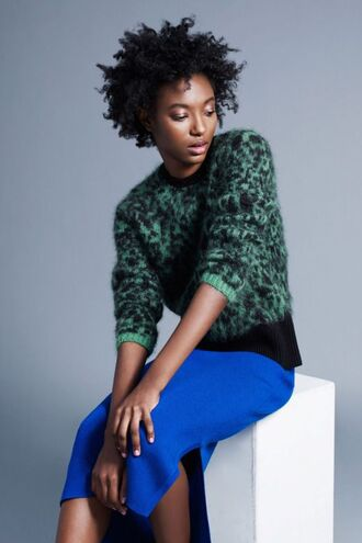sweater animal print green sweater fuzzy sweater leopard print black girls killin it