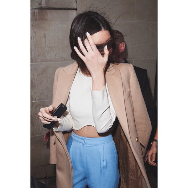 jeans kendall jenner blue pants tank top coat