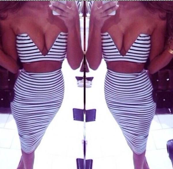 top sexy v neck stripes skirt crop tops