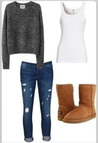 sweater oversized sweater winter sweater jeans shirt white tank top grey sweater brown boots blue ripped skinny jeans jacket cardigan cute grey ripped jeans top white