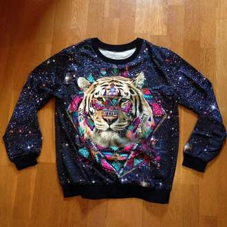 sweater colorful sweater animal tiger long sleeves