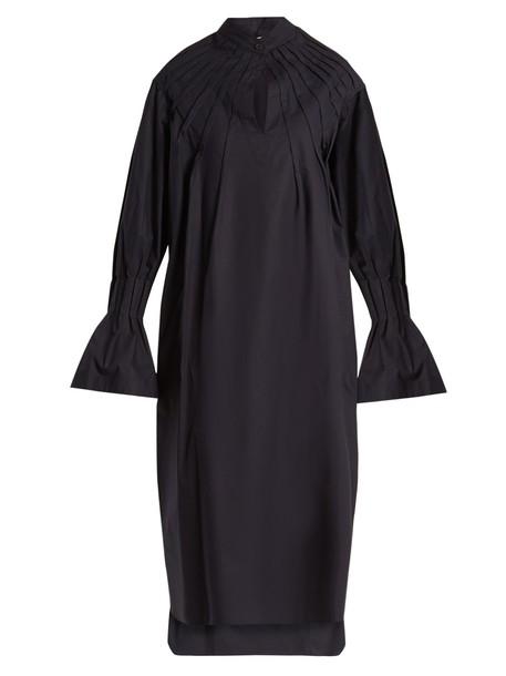 TEIJA dress pleated long cotton navy