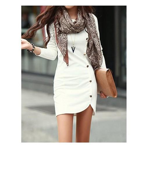 buttons dress white dress
