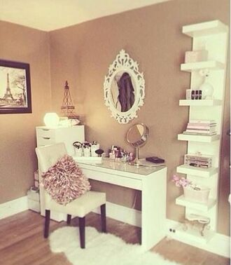 home accessory the white draws on the left the white fur rug makeup table home decor girly desk jumpsuit leggings make-up